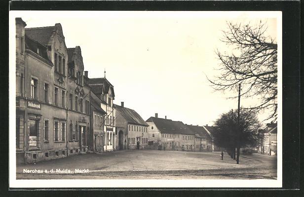 AK Nerchau a. d. Mulde, Strassenpartie am Markt
