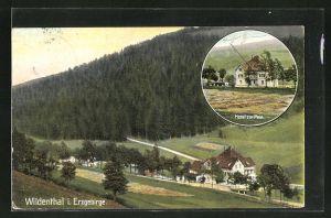 AK Wildenthal i. Erzgeb., Ansicht vom Hotel zur Post