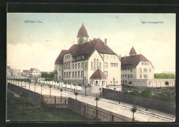 AK Rötha i. Sa., Strassenpartie am Kgl. Amtsgericht