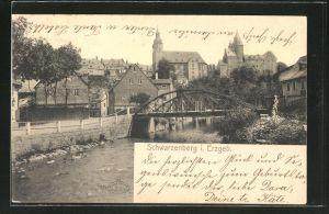 AK Schwarzenberg i. Erzgeb., Blick über den Schwarzwasser auf den Ort