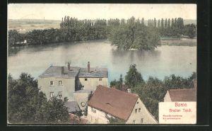 AK Borna, Teilansicht des Orts mit Blick zum Breiten Teich