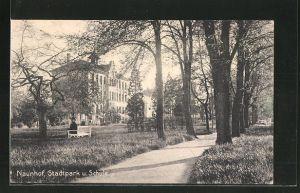 AK Naunhof, Partie im Stadtpark mit Schule
