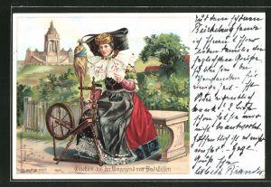 Lithographie Bad Eilsen, Frau am Spinnrad in Tracht von Schaumburg-Lippe