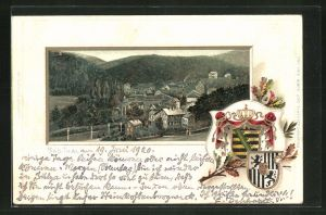 Passepartout-Lithographie Bad Thal, Ortsansicht mit Wappen