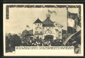 AK Kaufbeuren, VIII. Schwäbisch-Bayerisches Sängerbundesfest, Sicht auf die Festhalle, Ganzsache Bayern, PP15 D30 / 02