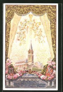 AK Plauen, Jubiläumskarte 6. Sächs. Katholikentag, Blick durch ein Fenster, Wappen
