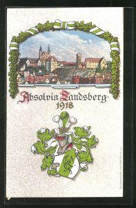 AK Landsberg, Absolvia 1918, Ortsansicht mit Studentenwappen
