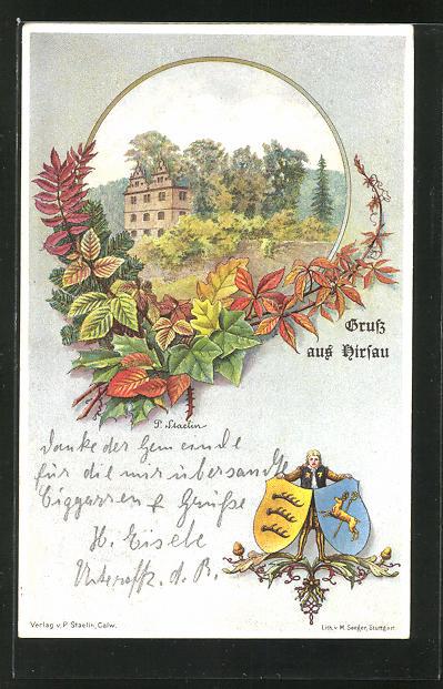 Passepartout-Lithographie Hirsau, Gebäudeansicht im Rahmen mit Blättern und Wappen