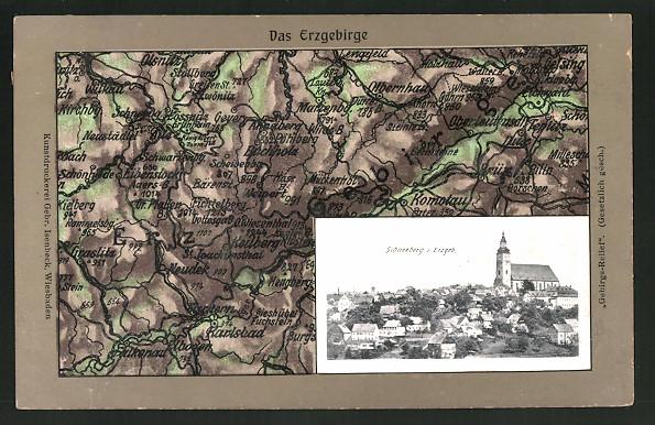 Relief-AK Schneeberg i. Erzegb., Teilansicht mit Kirche, Landkarte vom Erzgebirge