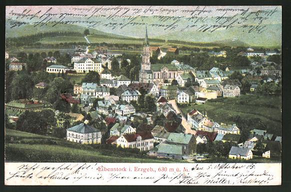 Relief-AK Eibenstock i. Erzgeb., Panoramablick auf die Ortschaft