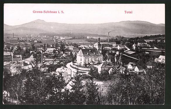 Relief-AK Gross-Schönau i. S., Teilansicht mit Kirche