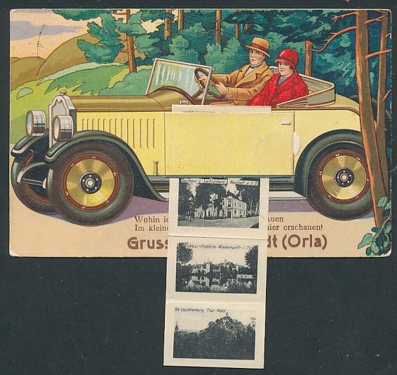 Leporello-AK Neustadt / Orla, Paar im Automobil, Gasthaus zur Sachsenburg, Bahnhof, Rathaus