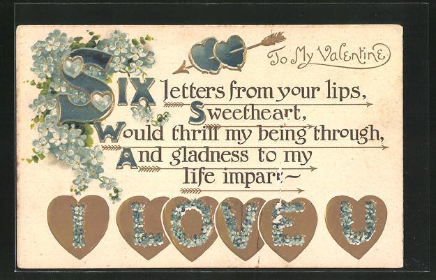 Präge-AK Valentine, Valentinstag, Herzen mit I love you