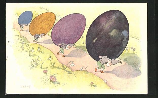 Künstler-AK Ernst Kreidolf: Zwerge schleppen bunte Eier