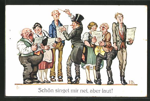 Künstler-AK Hans Boettcher: Schön singet mir net, aber laut !
