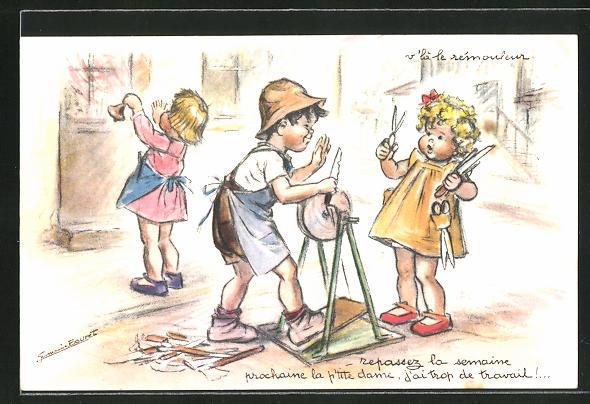 Künstler-AK sign. G. Bouret: Messerschleifer bei der Arbeit