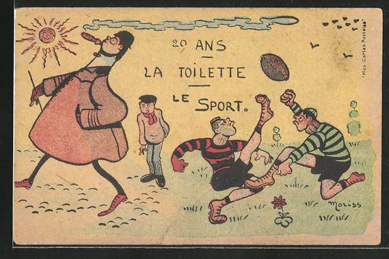 Künstler-AK sign. Moriss: 20 Ans la Toilette le Sport, Rugby