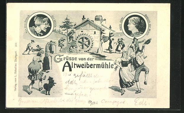 AK Altweibermühle, frauenfeindlicher Humor, aus alt mach jung