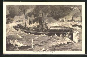 Künstler-AK Arthur Thiele: Torpedoboote beim Angriff