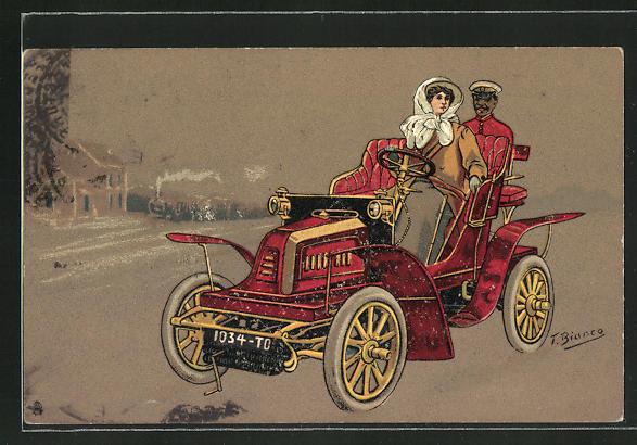 Künstler-AK sign. Bianco: rotes Auto mit Fahrerin und Diener