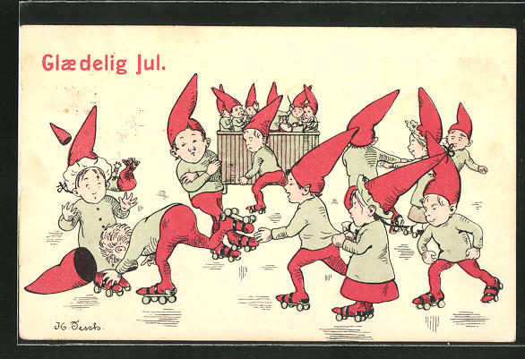 AK Glaedig Jul, Kinder mit Zipfelmützen laufen Rollschuh