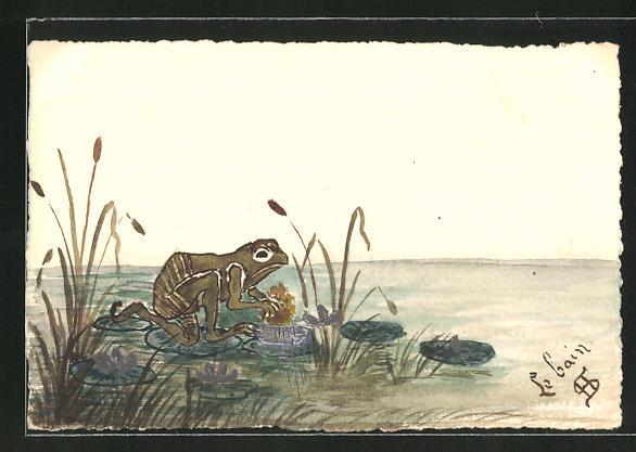 Künstler-AK Handgemalt: Frosch hüpft über die Seerosen auf dem Teich