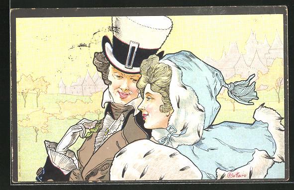 Künstler-AK E. Bottaro: Herr mit Zylinder und Dame mit Pelzmuff auf einem Spaziergang, Jugendstil
