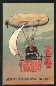 Präge-Lithographie Mann treibt den Ballon mit Kurbel und Segel an