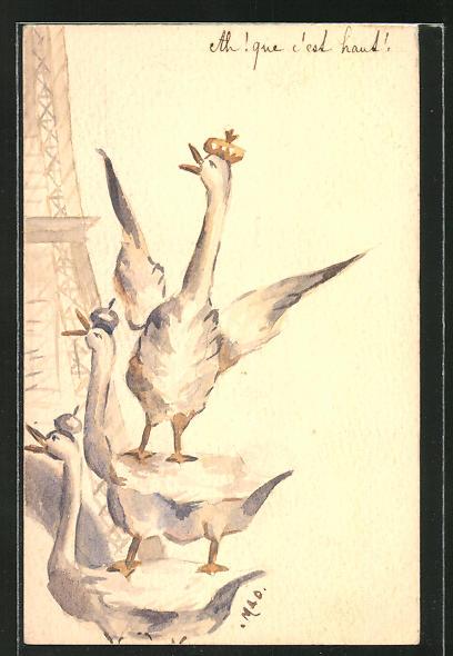 Künstler-AK Handgemalt: Enten mit Krone
