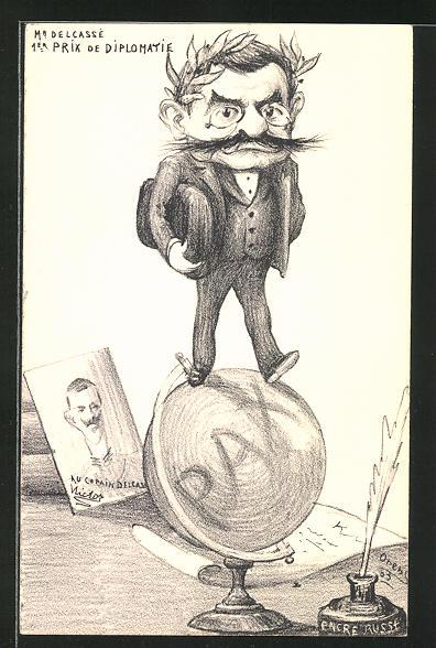 Künstler-AK Charles Denizard (Orens): Karikatur, Mann mit Lorbeerkranz balanciert auf einem Globus