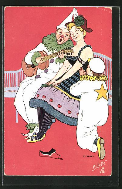 Künstler-AK sign. M. Barrt: Pierrot musiziert für eine Dame