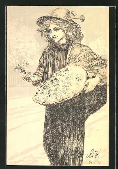 Künstler-AK Max Klinger: Leipzig, Blumenverkäuferin am Margueritentag 1911