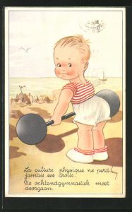 AK Kleiner Gewichtheber beim Kraftsport am Strand