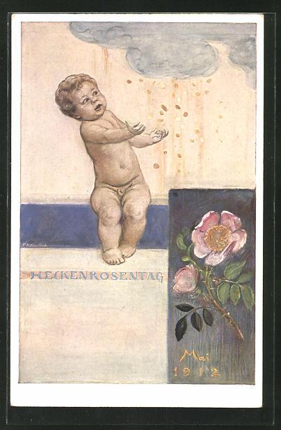Künstler-AK Hermann Kaulbach: München, Heckenröschentag 1912, Kind fängt die Taler aus dem Himmel, Blumentag