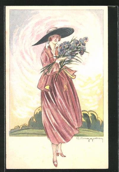 Künstler-AK sign. Muggam: schöne Frau mit grossem Hut und Blumenstrauss