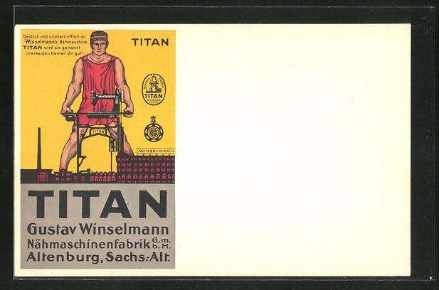 AK Altenburg, Reklame für Titan-Nähmaschinen, Gustav Winselmann Nähmaschinenfabrik GmbH