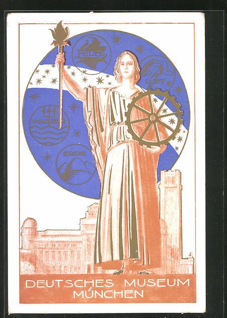 AK München, Deutsches Museum, Frau mit Fackel und Zahnrad, Feuer, Wasser, Luft, Erde