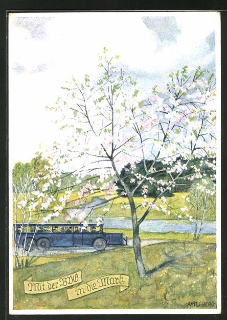 Künstler-AK Otto Amtsberg: Mit der BVG in die Mark, Bus fährt durch eine grüne Ladnschaft