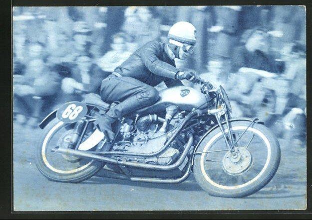 AK Rennfahrer Wilhelm Herz auf seinem NSU-Motorrad bei einem Rennen