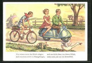 AK Fahrradfahrer erhascht einen Blick auf die schönen Beine einer Motorroller-Beifahrerin