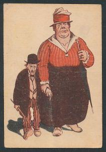 Mini-AK Übergewichtige Frau mit ihrem kleine Mann an der Hand, frauenfeindlicher Humor