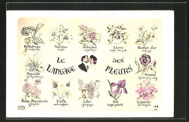 AK Le Langage des Fleurs, Liebespaar mit Blumen, Blumensprache