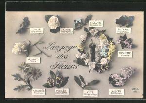 AK Langage des Fleurs, Mann in einem Blumenkranz, Blumensprache
