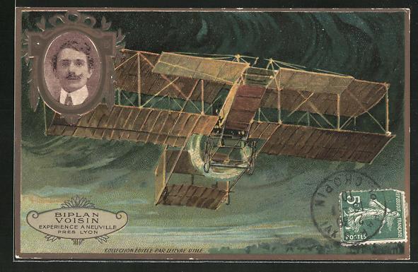 AK Biplan Voisin Expérience a Neuville près Lyon, Flugzeug gewinnt an Höhe mit Portrait