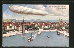 AK Lindau, Graf Zeppelins lenkbares Luftschiff über dem Hafen
