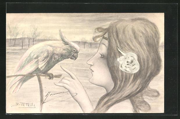 Künstler-AK B. Patella: Schöne junge Frau mit Kakadu