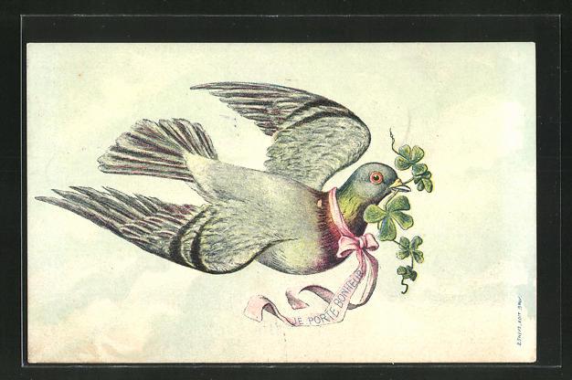 AK Taube mit Glücksklee im Schnabel