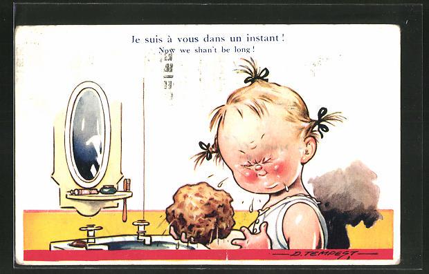 Künstler-AK Douglas Tempest: Mädchen wäscht sich mit einem Schwamm