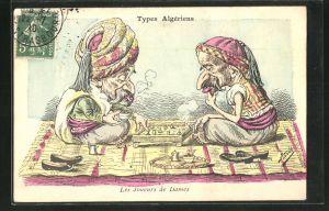 Künstler-AK sign. Assus: Types Algériens, Les Joueurs des Dames, Algerier spielen Dame