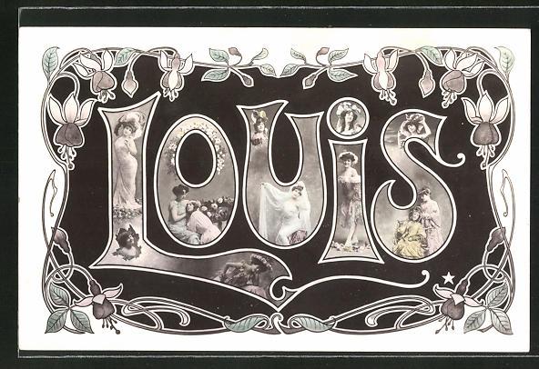 AK Namenstag Louis, Buchstaben mit Frauenmotiven 0